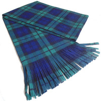 Blackwatch Tartan Fleece Scarf Green and Navy Plaid Unisex Scarf Extra Long Extra Wide Scarf