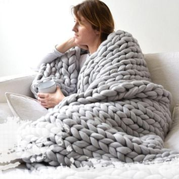 Urijk 1PC Crocheted Bed/Sofa Blanket For Beds Home Warm Thick Thread Winter Blanket For Adults Blankets European Home Textile