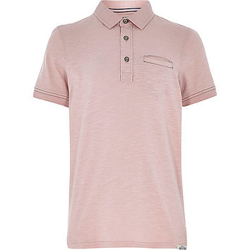 River Island Boys light pink washed polo shirt