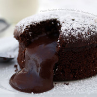 Classic Decadent Molten Chocolate Cake Dusted with Powdered Sugar « FoodPornDaily