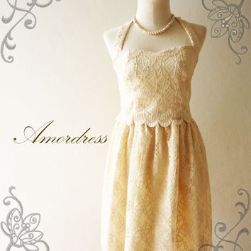 Amor Vintage Inspired Gorgeous Beige Cream Princess Lace Dress Wedding Prom Party Dress for Any Occasion - Once Upon A Time-  Size S-M-