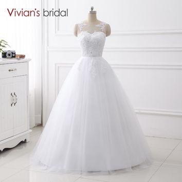 Simple Design A Line Wedding Dress Sleeveless Bridal Lace Tulle Wedding Gown Floor Length