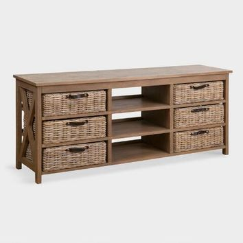 Gray Wood Delilah Console Table with Rattan Baskets