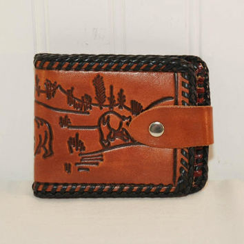 Vintage Brown Leather Wallet (c. 1970's) Grizzly Bears, Nature, Wildlife, Gift For Him, Leather Billfold, Men's Wallet, Embossed Leather