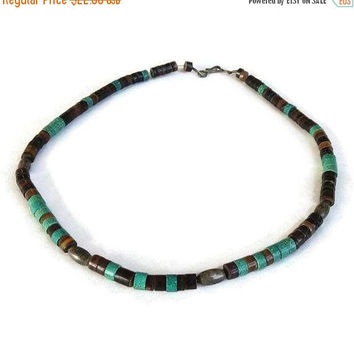 Turquoise Heishi Bead Necklace Vintage Boho Ethnic with Silver Beads
