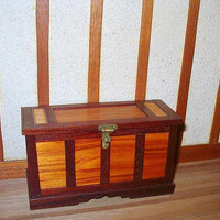 Dollhouse Blanket Chest, Dower Chest, Purpleheart & Tulip Wood - 1/12 scale Miniature