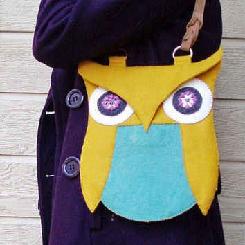 Felt Owl PurseMustard and Teal Wool Blend Felt with by IamCraftish