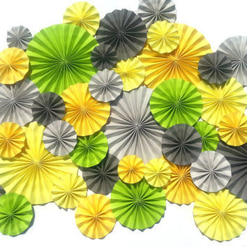 Yellow, Grey, Green Pinwheel Wedding Event Decoration