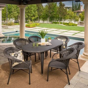Matador Outdoor 7 Piece Gray Wicker Oval Dining Set with Stacking Chairs