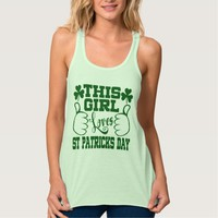 She Sure Loves St Paddys Day Flowy Racerback Tank Top
