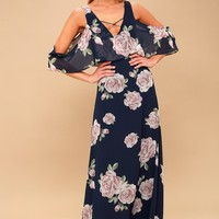 The Very Thought of You Navy Blue Floral Print Maxi Dress