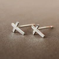 Tiny Cross Earrings,Crucifix Earrings,Cross Jewelry,Golden Brass or Sterling Silver,Minimal Earrings,Sterling Silver Unisex Earrings (E194)