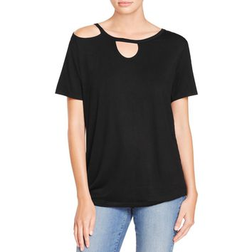 Alison Andrews Womens Peek-A-Boo Cut-Out Casual Top
