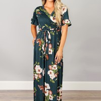 Hunter Green Floral Maxi Dress
