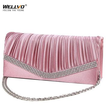 Women Satin Clutch Bag Rhinestone Evening Purse Ladies Day Clutch Chain Handbag Bridal Wedding Party Bag Bolsa Mujer 2018 XA1080