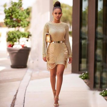 Cut Out Transparent Long Sleeves Short Dress