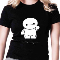 Hello Baymax TV Womens T Shirts Black And White