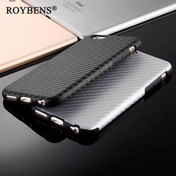 2017 New Durable Fiber Carbon Soft Case For iPhone 6 6S 4.7 Plus 5.5 Silicone TPU Cover Leather Skin Matte Back Capa Anti-Knock