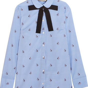 Gucci - Bow-embellished embroidered striped cotton shirt