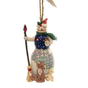 Jim Shore SNOWMAN WITH ANIMALS Polyresin Ornament 6005312