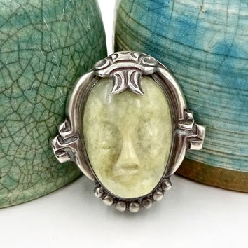 Rare INGRID'S SILVER SHOP Sterling Silver Carved Agate Face Pin Brooch Mexico
