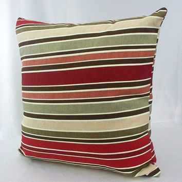 Colorful pillow cover, Multicolor pillow, Striped pillow, throw decorative couch accent pillows, red, burgundy, green, tan, cream, brown