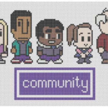 Community Game Characters Cross Stitch Pattern (PDF) INSTANT DOWNLOAD