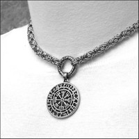 Discreet Chainmaille Link Day Collar with Viking Inspired Magical Mystical Compass Protection Medallion on Ancient Design Connector Ring