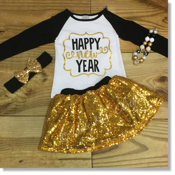 """Happy New Year"" Gold Sequin Skirt Outfit"