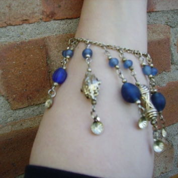 Silver chain bracelet with blue beads and charms - vintage - festival/alternative/gift/token