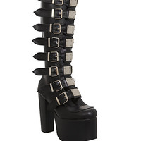 Demonia Torment Black Platform Knee-High Boots