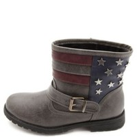 Bamboo Star-Studded Americana Ankle Boots by Charlotte Russe - Gray