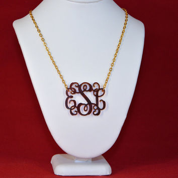 3 Initials Monogram Necklace - 1.5 inch Vine Personalized Monogram Acrylic Custom Lasercut