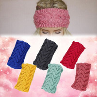 Elastic Crochet Headband Knit Hairband Winter Women Ear Warmer Headwrap 10 Color = 1958208004