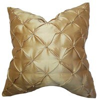 The Pillow Collection P18-MVT-1238-S100 Pecola Gold 18 x 18 Solid Throw Pillow