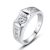 Moon Wings Sterling Silver Solitaire with Accents Promise Ring Men's Ring