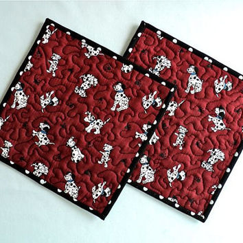 Quilted Dalmatian Dog Pot Holders / Hot Pads / Trivets - Set of 2