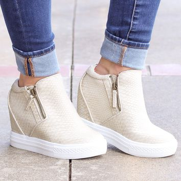 {Cream} Not Rated: Timmibelle Hidden Wedge Sneaker - Size 10