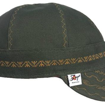 Military Green/Carhartt Olive/Gold Stitching Prewashed Welding Cap