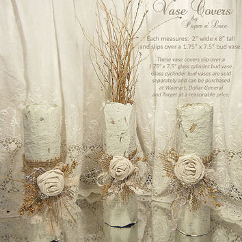 Vase Cover Table Toppers, Set of 3. Thick all natural fiber pulp made to resemble bark. Hand rolled and embellished with burlap and lace.