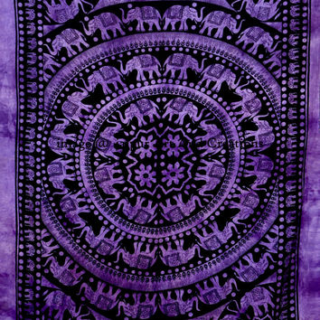 Twin Elephant Mandala Tapestries, Bohemian Tapestry Wall Hanging, Psychedelic Wall Decor, Dorm Tapestry, Tapestry Bedding