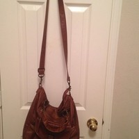 Brown faux leather bag