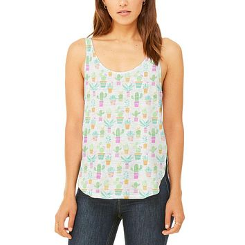 Watercolor Retro Cactus Bold Pastel Pattern Repeat Juniors Flowy Side Slit Tank Top