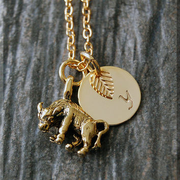 Gold Taurus Zodiac Charm Necklace, Initial Charm Necklace, Personalized, Zodiac Horoscope Sign, Taurus Pendant, Zodiac Taurus Jewelry