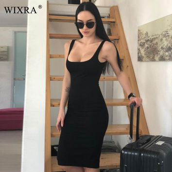 Basic Vest Women Back Split Summer Sleeveless Vest Tanks Slim Bodycon Strap Party Dresses