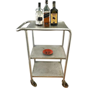 Vintage Industrial Bar Cart / Media Cart on Wheels