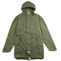 Crooks and Castles Woven Parka Battalion in Military Green