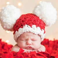 Christmas Baby Santa Hat, Baby Hat, Preemie or Newborn Baby Girl or Baby Boy Pom Pom Mouse Ear Hat - Red, White - Photography Prop Santa Hat
