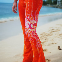 Batik Yoga Pants in Brilliant Orange