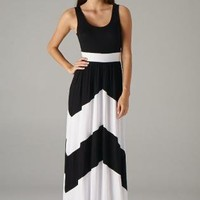 Black Maxi Dress with White Chevron Print & Round Neckline